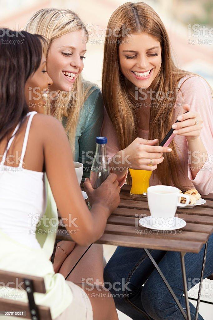 Women tasking. stock photo