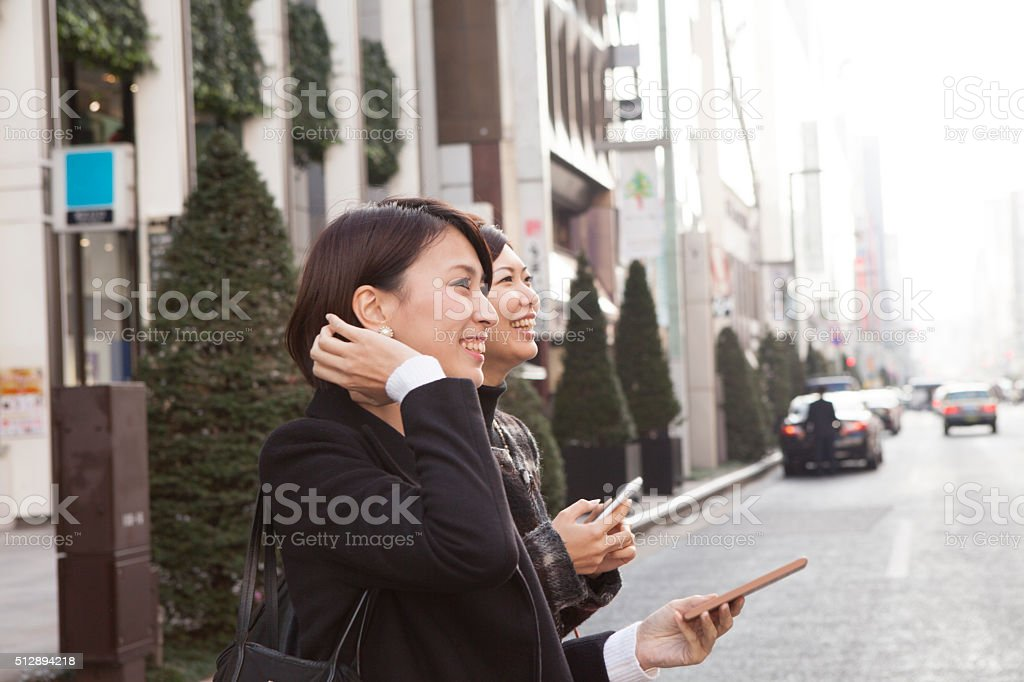 Women to be shopping in the city stock photo