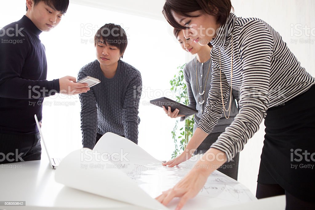 Women to broaden the drafting stock photo