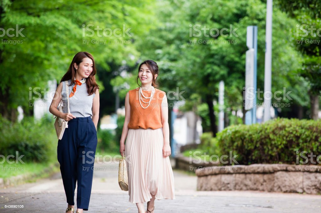 Women to walk in the Park stock photo