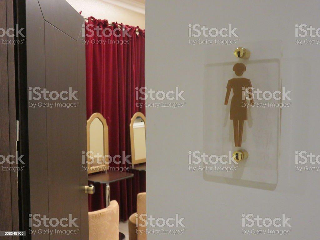 Women toilet sign stock photo