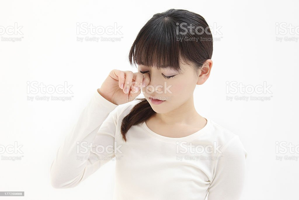 Women touch the eye stock photo