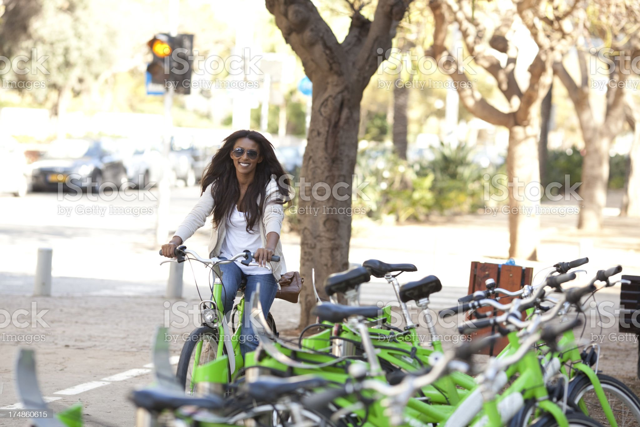 Women traveling on bicycle. royalty-free stock photo