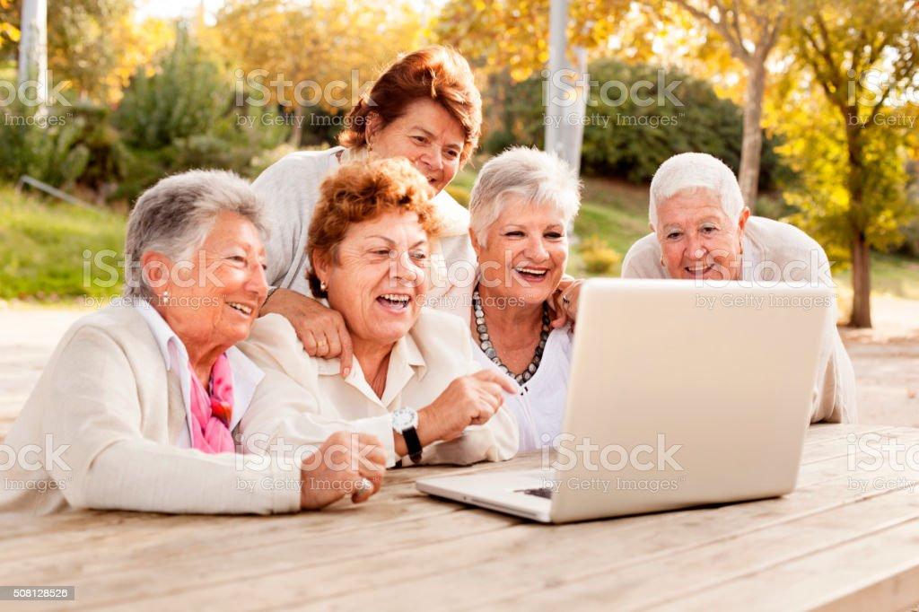 Women using laptop stock photo