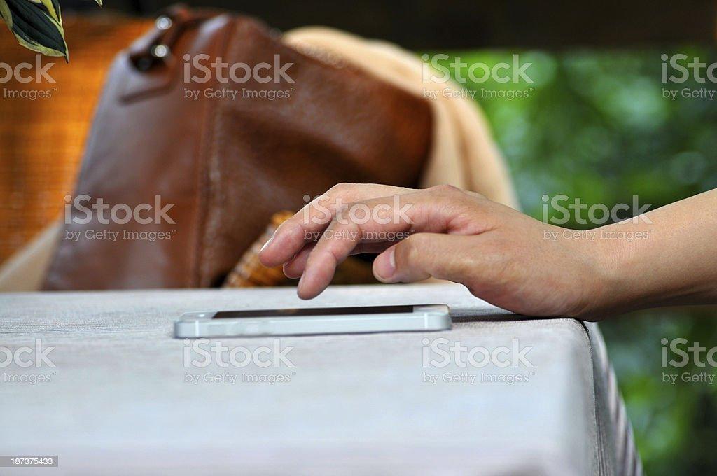 Women Using Mobile Smart Phone royalty-free stock photo