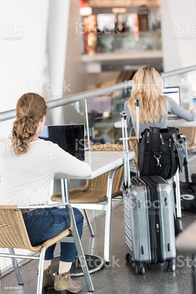 Women using their laptop stock photo