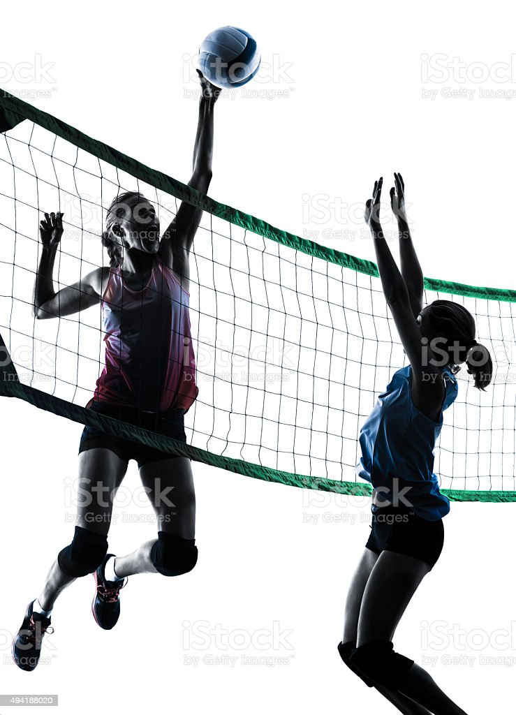 women volleyball players isolated silhouette stock photo