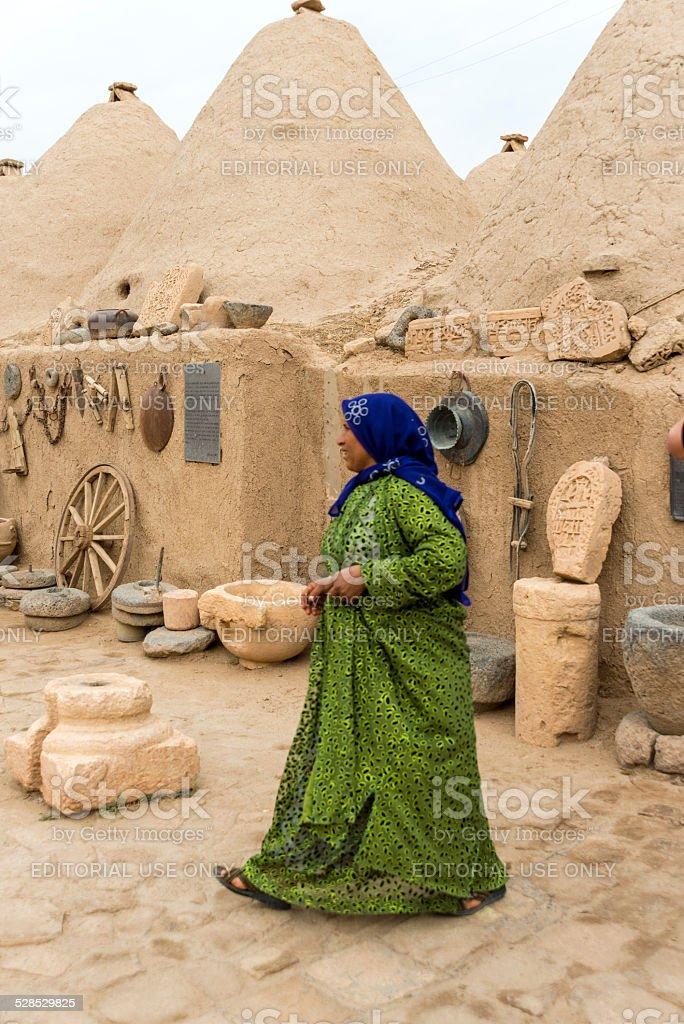 Women walking at mud brick house of harran stock photo