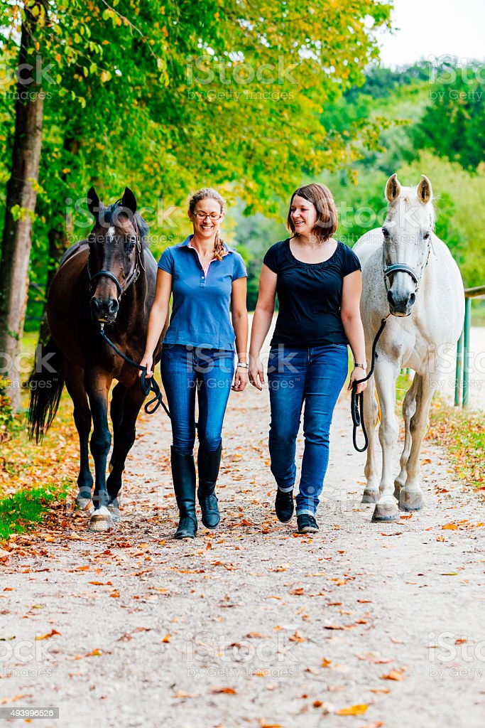 Women walking back home with horses from horseback riding stock photo