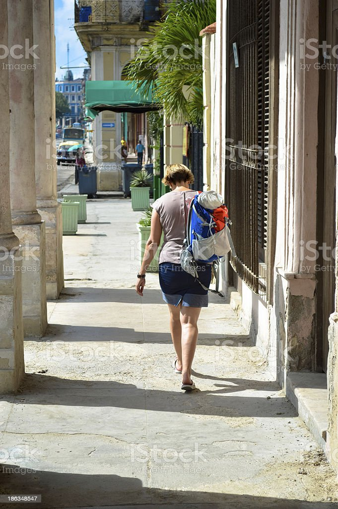 women walking down street royalty-free stock photo