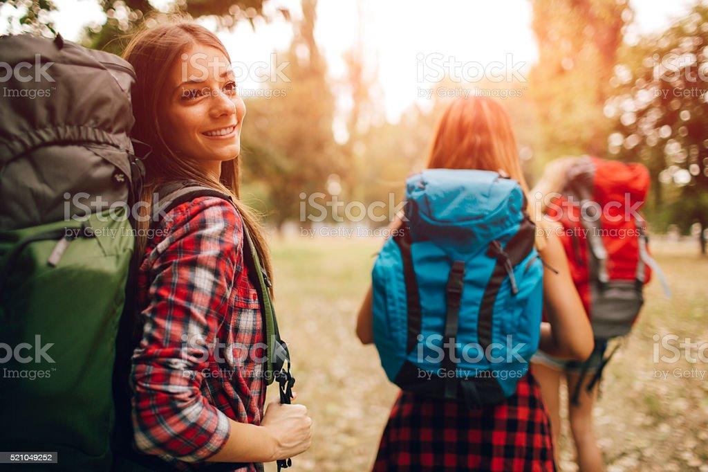Women Walking Outdoors In Nature. stock photo