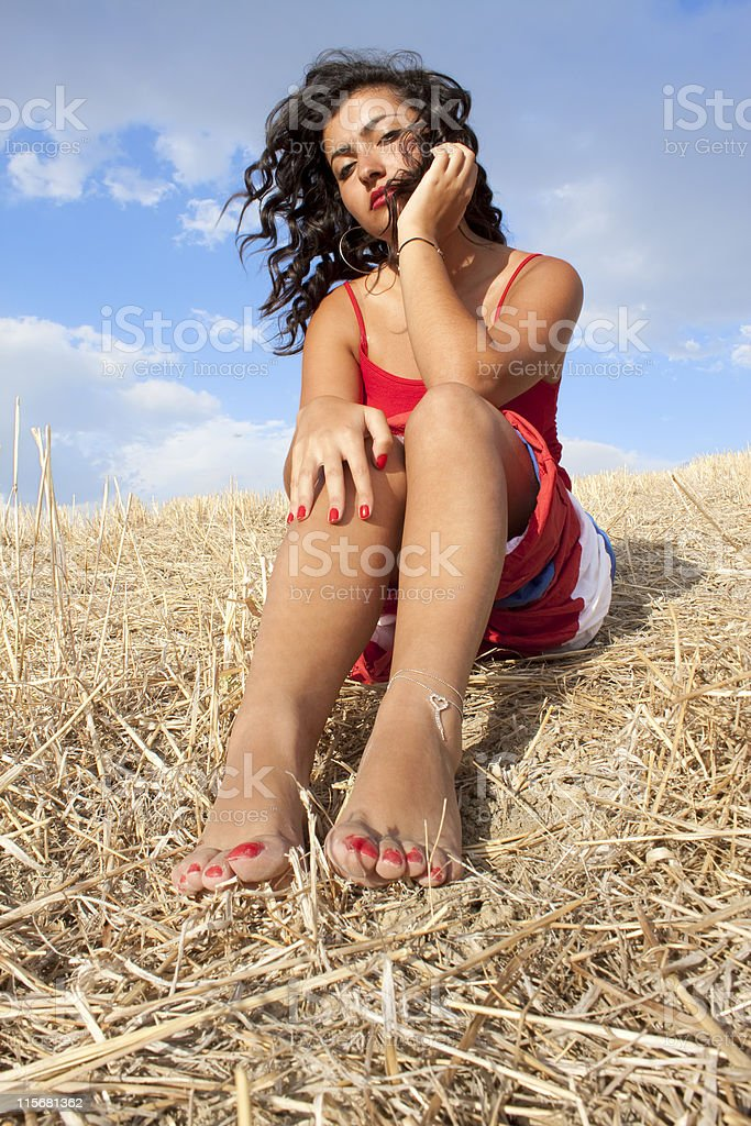 women wearing skirts and red,finger nail polish royalty-free stock photo