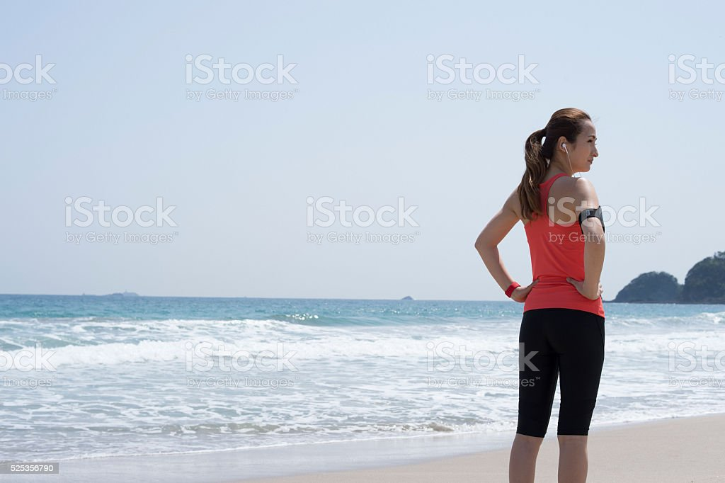 Women who are taking a break while listening to music stock photo
