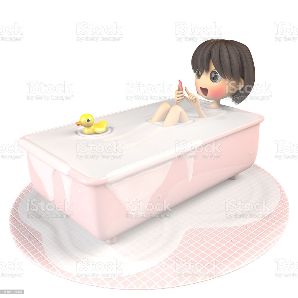 Women who use a smartphone while taking a bath stock photo