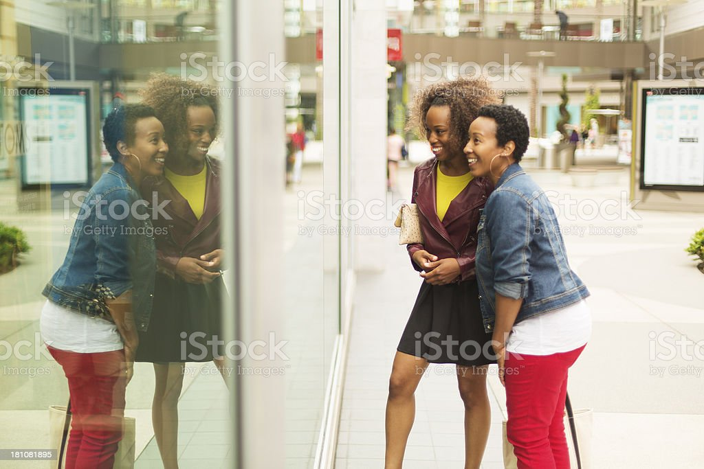 Women Window Shopping stock photo
