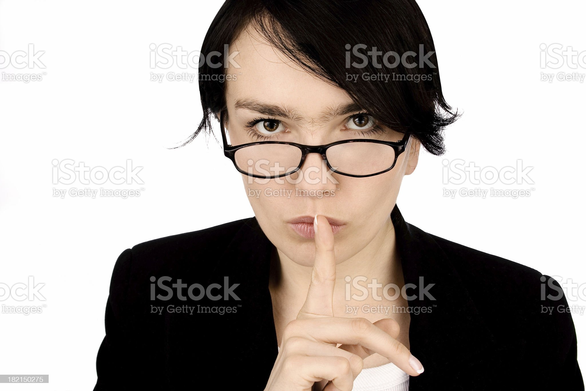 Women with a finger on mouth royalty-free stock photo
