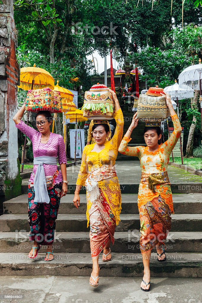Women with basket on the head stock photo