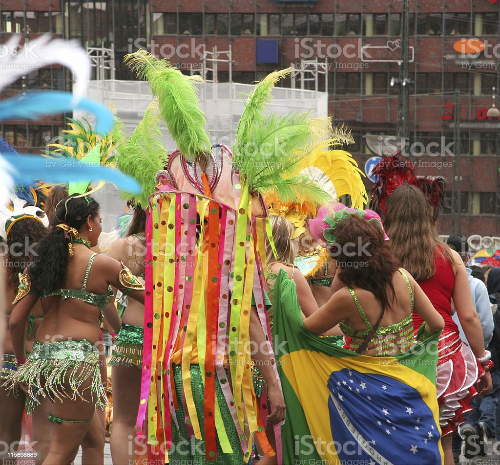 Women with beautiful costumes in carnival parade Copenhagen, Denmark royalty-free stock photo