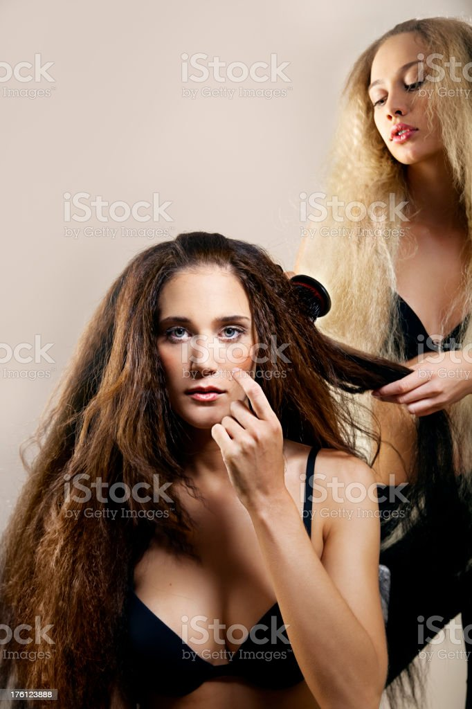 women with big hair royalty-free stock photo