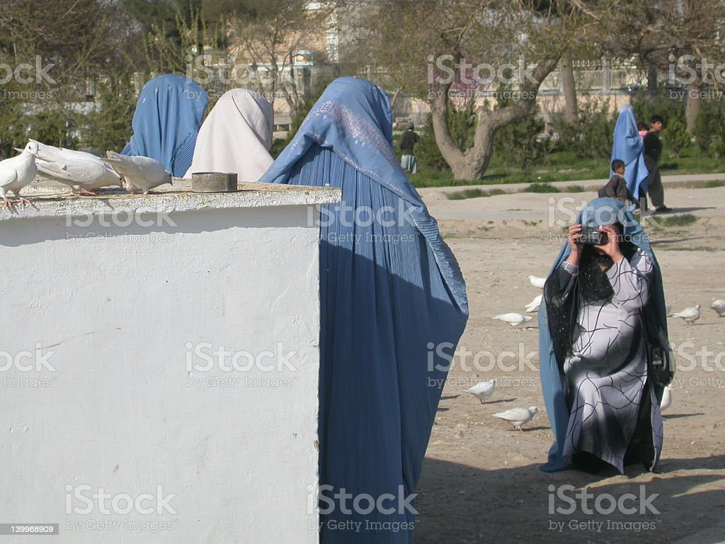 Women with burkha taking pictures, Afghanistan stock photo