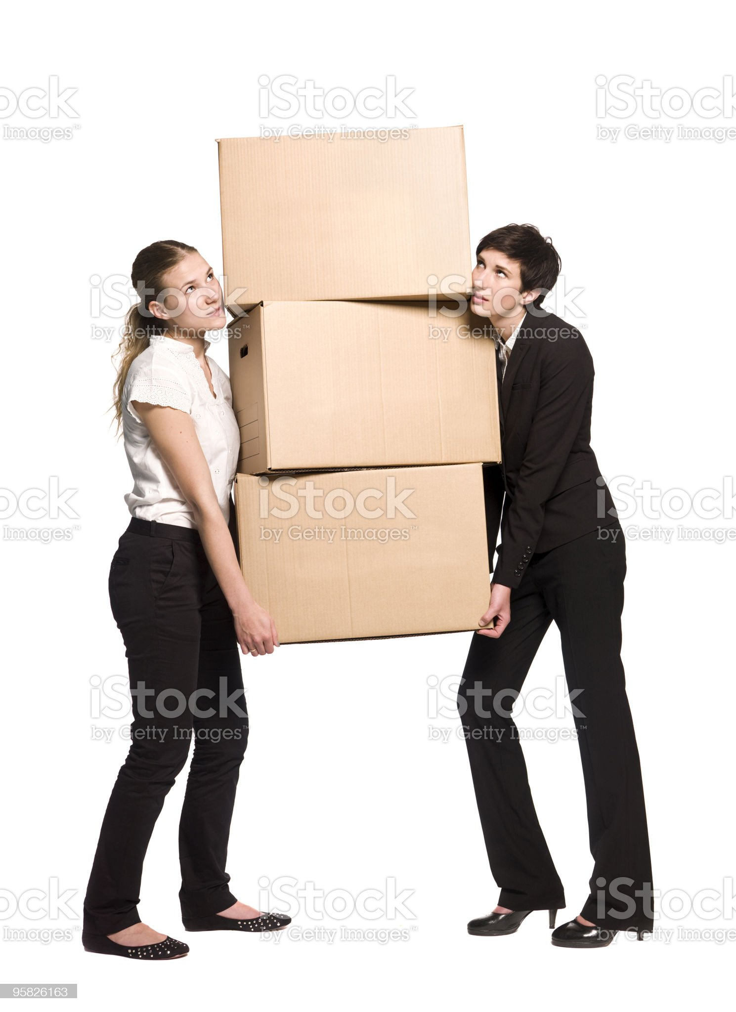 Women with cardboard boxes royalty-free stock photo