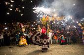 Women with China oaxaqueña traditional costume dancing for Guelaguetza celebration