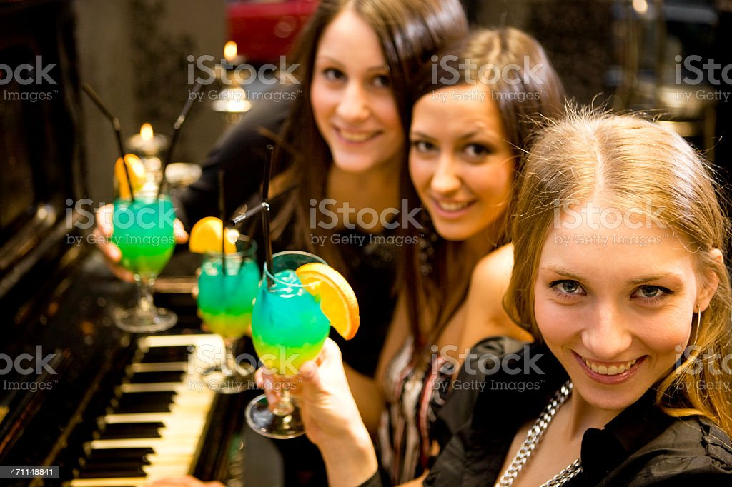 Women with cocktails stock photo