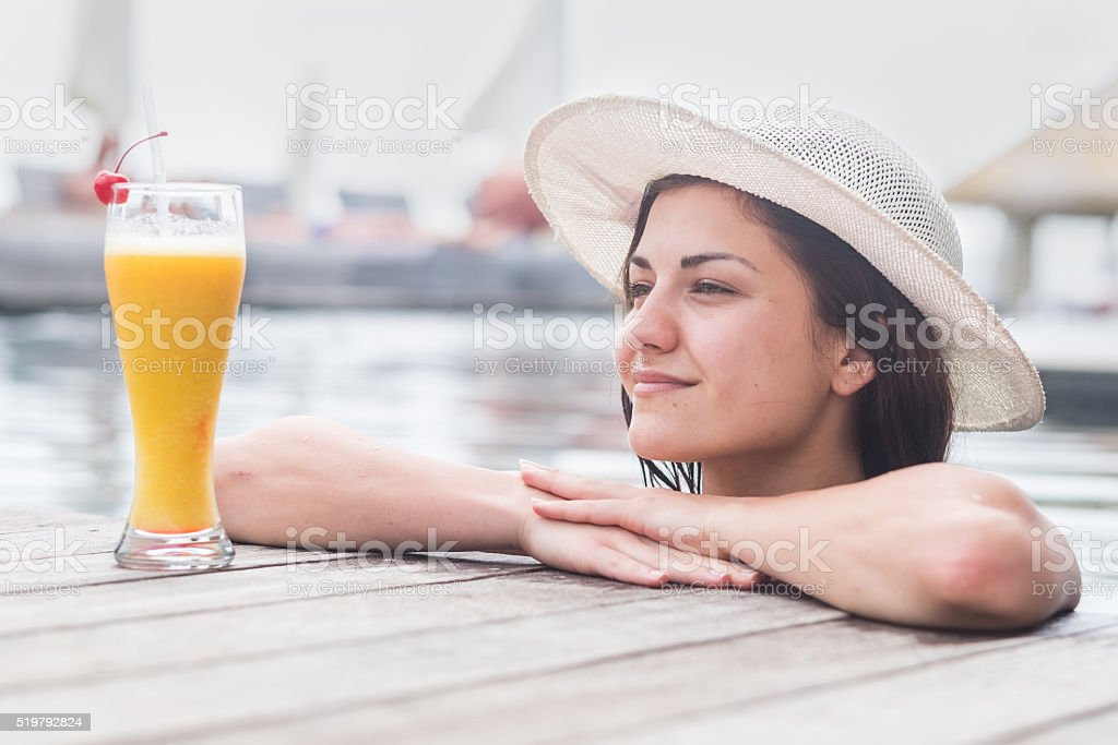 women with coktail stock photo
