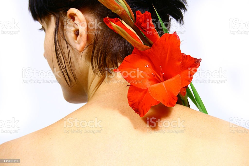 women with flower royalty-free stock photo