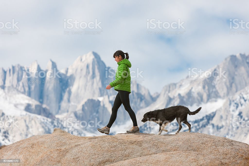 Women With Her Dog In The Mountains Hiking stock photo