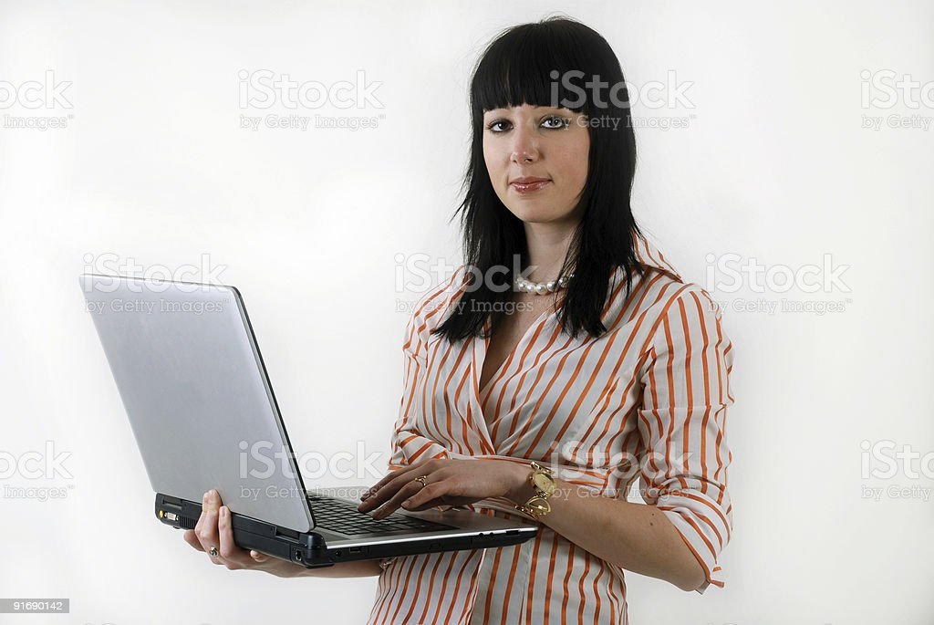 women with laptop royalty-free stock photo