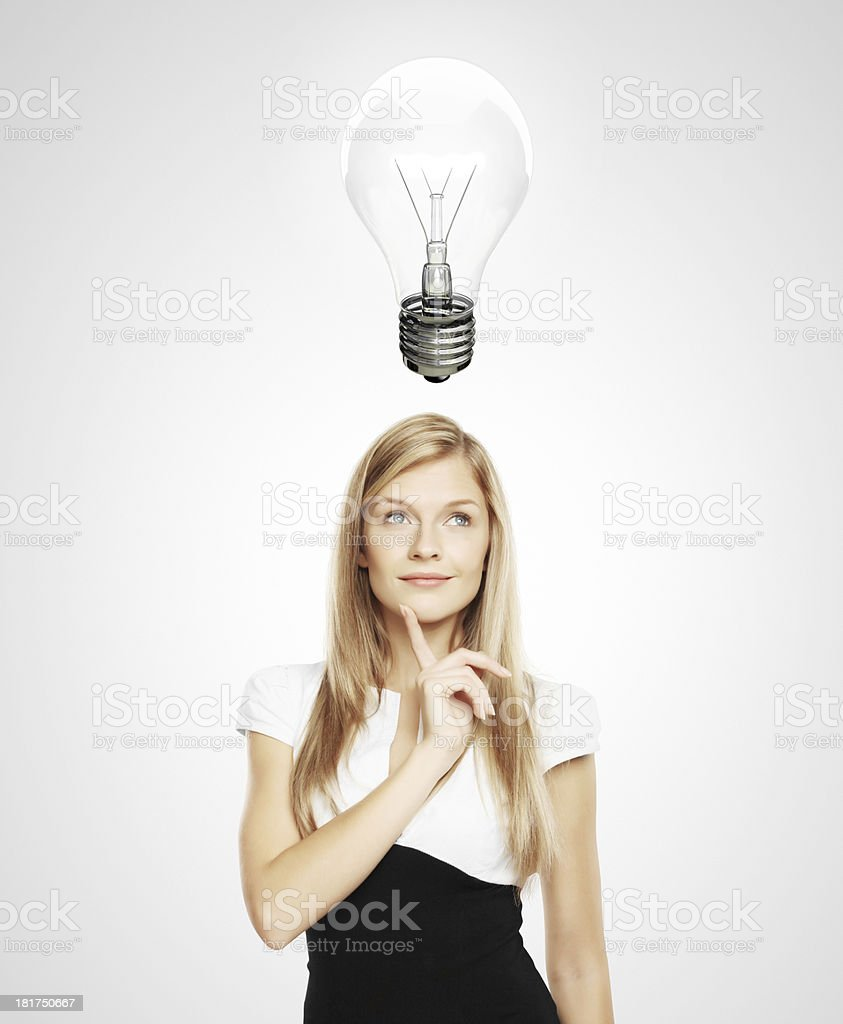 women with lightbulb royalty-free stock photo