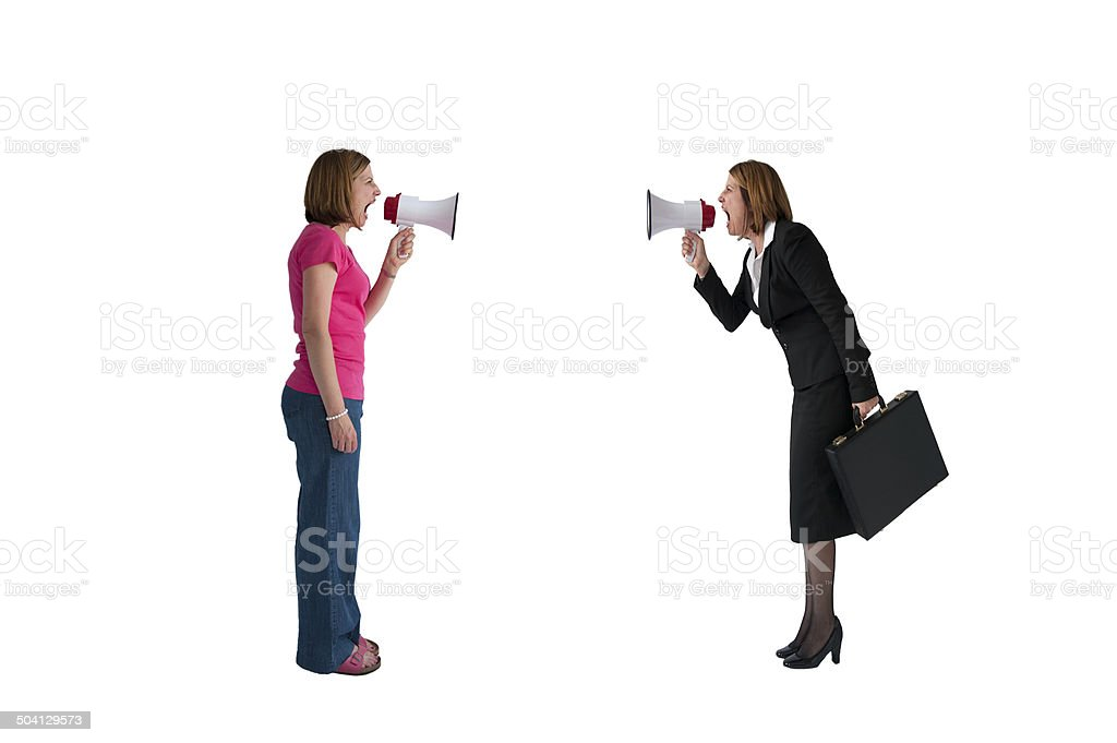 women with megaphones shouting isolated stock photo