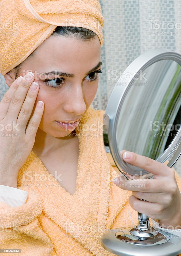 Women with mirror royalty-free stock photo
