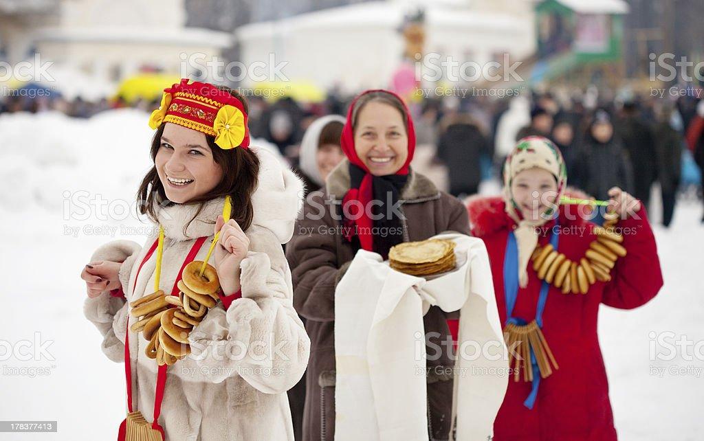 Women with pancakes during  Maslenitsa stock photo