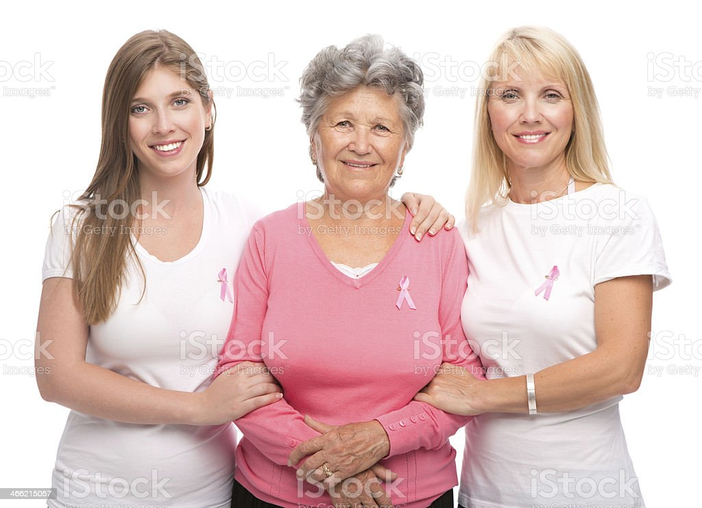 Women with pink ribbon. stock photo