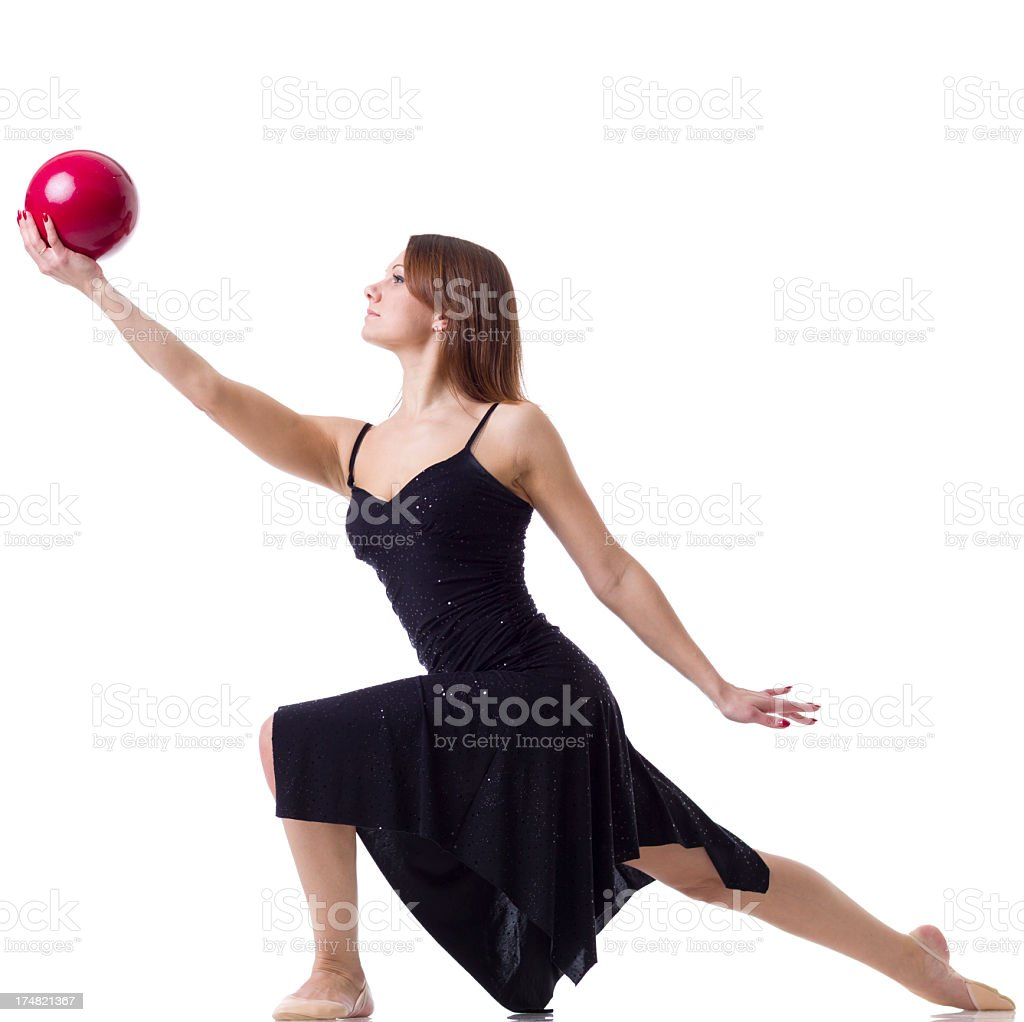 Women with Rhythmic Ball isolated on white royalty-free stock photo