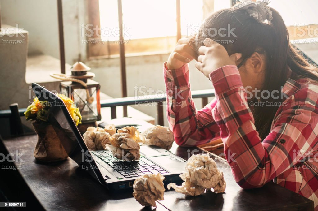 Women with stressful on the table. stock photo