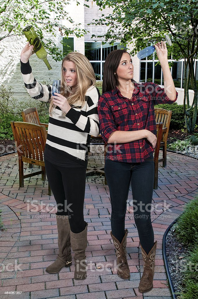 Women with Wine stock photo