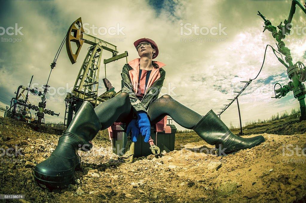 Women worker. Oil  & gas industry. stock photo