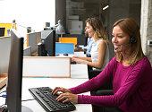 Women Working In Call Center.
