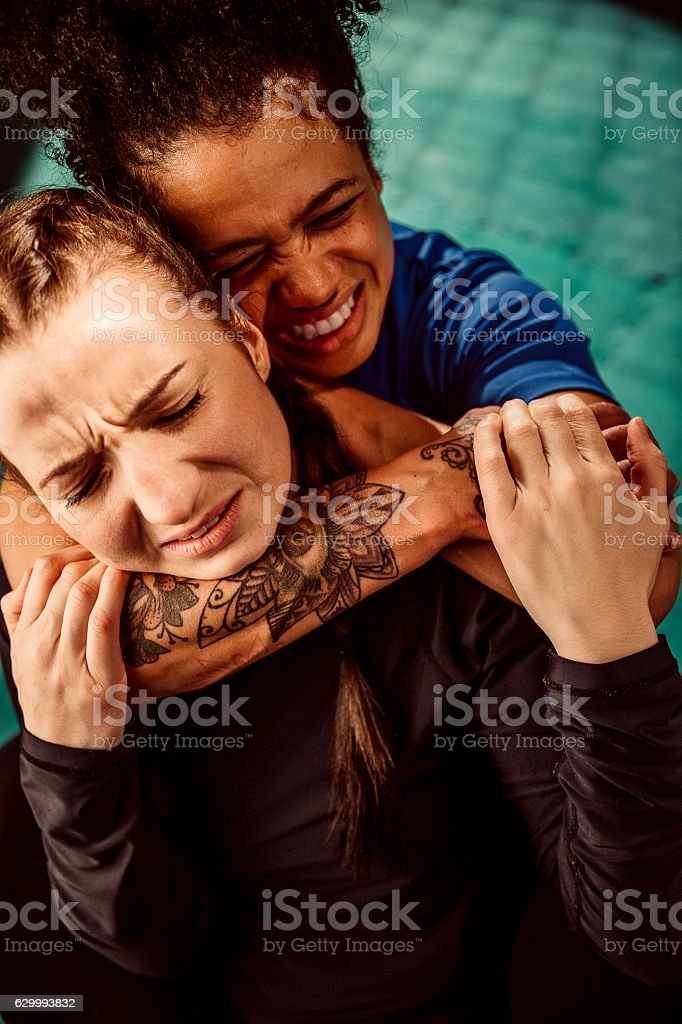 Women Wrestling stock photo