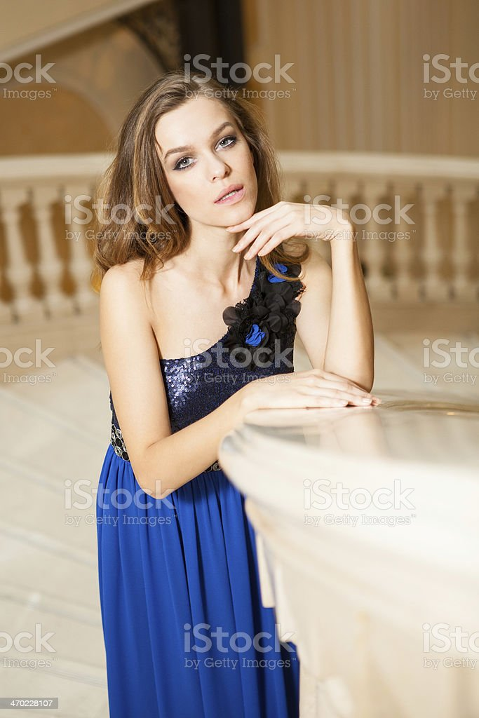 women-contemplating-on-stairs royalty-free stock photo