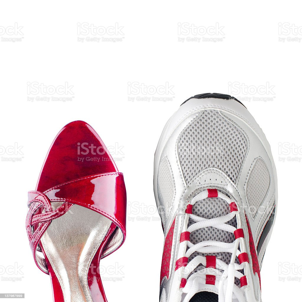 Women's and men's shoes royalty-free stock photo