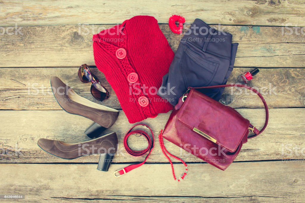 Women's autumn clothing and accessories stock photo