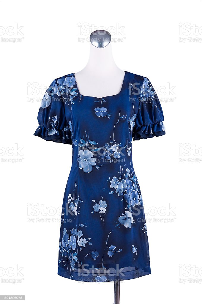 Womens beautiful blue pattern dress on mannequin on white background stock photo
