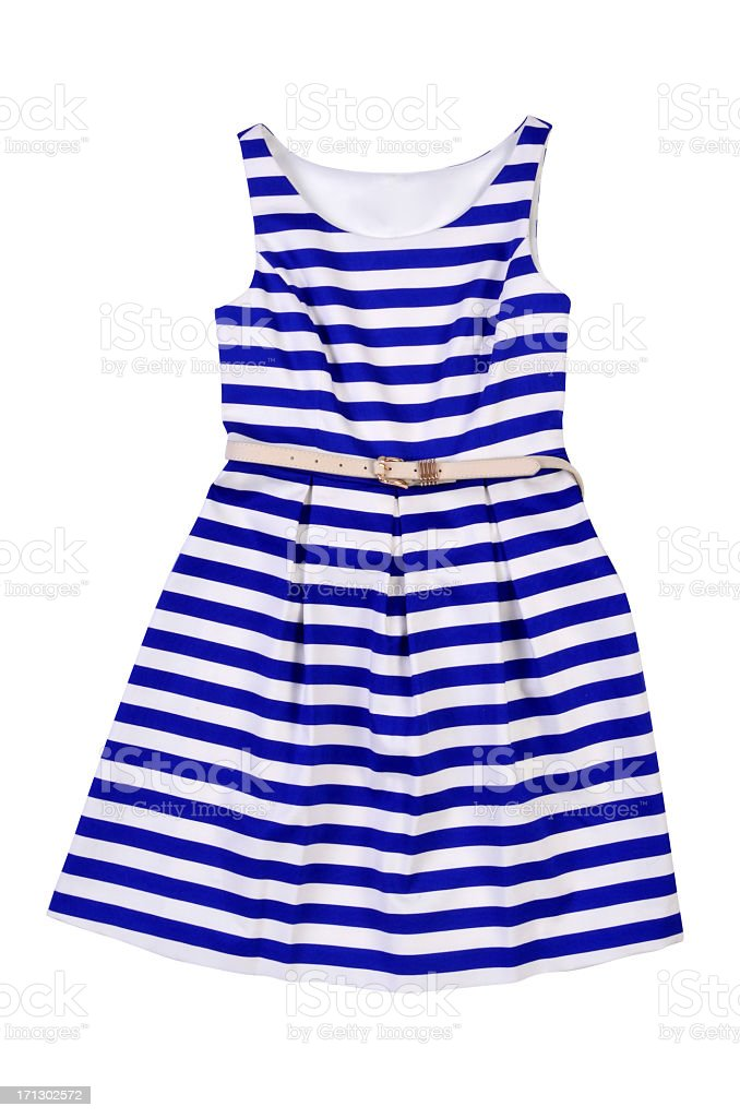 Women's blue and white striped dress stock photo