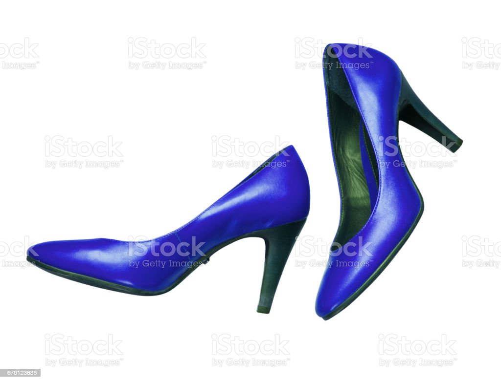 Women's blue shoes on a white background stock photo