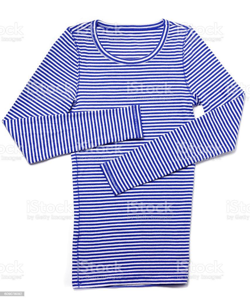 Women's blue striped shirt on white stock photo