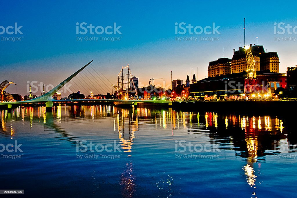 Women's Bridge at Puerto Madero in Buenos Aires, Argentina stock photo
